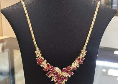 Ruby Necklace with Diamonds