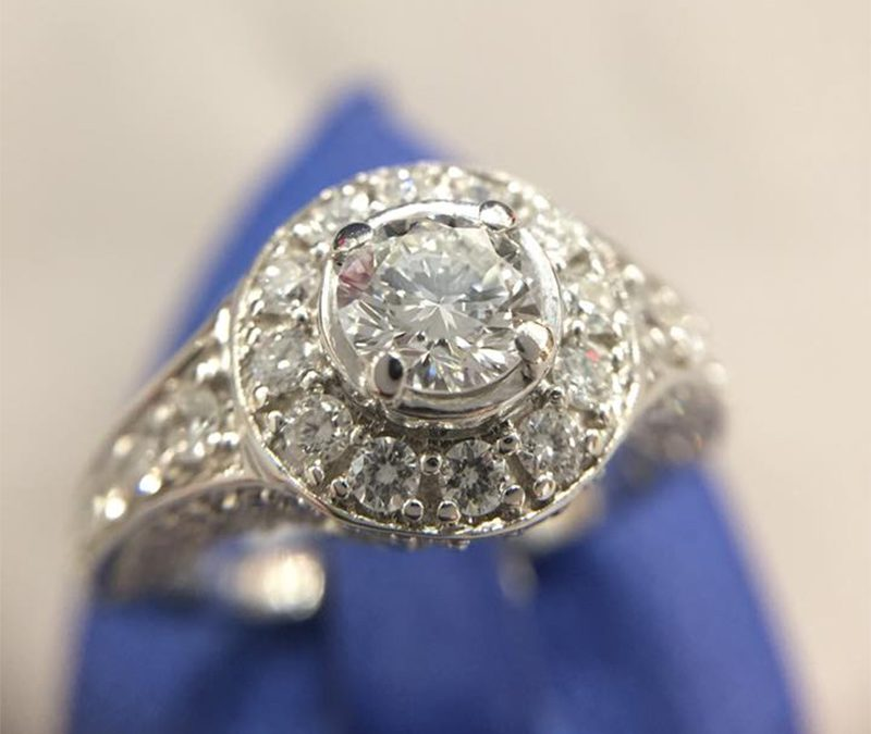 White Gold Diamond Halo Ring